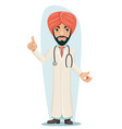Quality treatment turban arab male serious vector image