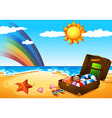 A beach under the sky with a rainbow and a bright vector image