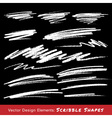 White Scribble Smears Hand Drawn in Pencil vector image