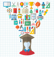 Set of Education Flat Colorful Icons vector image