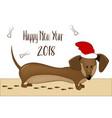 happy 2018 new year card funny dachshund dog vector image
