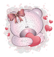 Pink bear with heart vector image