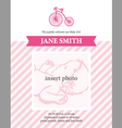 Baby girl announcement card template with bicycle vector image vector image