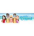 young people group on sea shore sand beach summer vector image