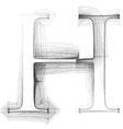 Sketch font Letter H vector image