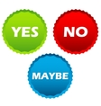 Yes no and maybe buttons vector image