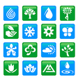 Nature and water icons buttons vector image