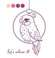 Cute girl bird contour vector image