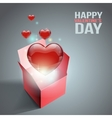 Heart gift present with fly hearts vector image