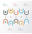 job flat icons set collection of envelope vector image