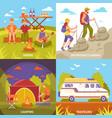 outdoor recreation compositions set vector image