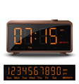 Retro digital alarm clock with orange numbers vector image