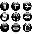 set different black shiny button vector image