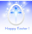 happy easter with a cross inside a easter egg vector image