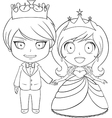 Prince and Princess Coloring Page 1 vector image vector image