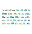 architecture town buildings big set city street vector image
