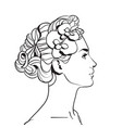 profile of beautiful woman with elegant hairstyle vector image
