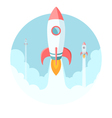 Rockets flying in the sky Modern flat style vector image
