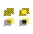 Set of chat bubbles with yellow and black stripes vector image