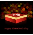 The square box with red and gold rose on a dark vector image
