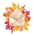 Watercolor envelop with leaves vector image