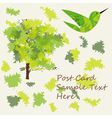 Applique style background with tree leaf and bird vector image vector image