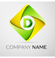 Letter D logo symbol in the colorful rhombus vector image