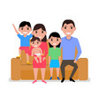 Cartoon happy family sitting on sofa vector image