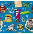 Cartoon pirates seamless pattern background vector image