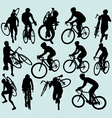 cyclocross racing silhouettes vector image