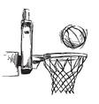 Hand sketch basketball hoop and ball vector image