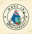 Stamp with map flag of Montserrat vector image