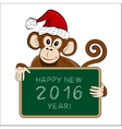 Chinese symbol 2016 - monkey with a greeting vector image