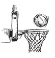 Hand sketch basketball hoop and ball vector image