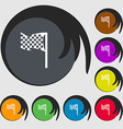 racing flag icon sign Symbols on eight colored vector image
