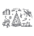 Hand drawn set of Christmas decoration elements vector image