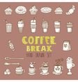 doodle set Hand drawn coffee elements Coffee break vector image