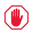 Rad hand blocking sign stop vector image