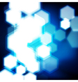 Abstract blue background with hexagons bokeh vector image