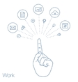 Hand keeps mobile with set of line icons vector image