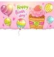 Happy Birthday card with raspberry cupcake vector image