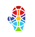 Mosaic hand icon Mitten icon Isolated Colored hand vector image