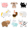 Farm animal set Pig dog cat cow rabbit ship horse vector image