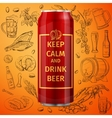 beer can and hand drawing icon vector image
