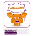 a monster saying wat vector image