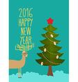 Christmas tree and deer Holiday card for Christmas vector image