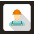 Construction worker icon flat style vector image
