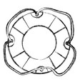 Monochrome sketch of flotation hoop with tether vector image