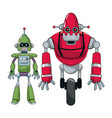 pair robots electronic android vector image