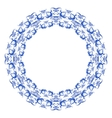 Round frame with light blue pattern of flowers and vector image